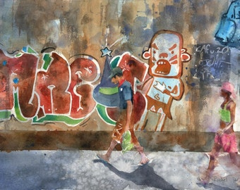 Original Graffiti Rio de Janeiro Brazil Hipster Contemporary Avant-Garde Modern Art Watercolor Painting  Street Colorful Cityscape Urban