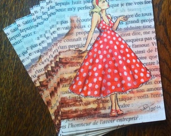 Vintage Fifties Lady French Literature Bookworm - 10 cards for crafting and scrapbooking