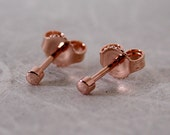 14k Rose Gold Stud Earrings 2mm Tiny Rose Gold Earrings by SARANTOS