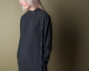 GUY LAROCHE black dress / vintage 80s minimalist dress / lbd / s / m / 745d