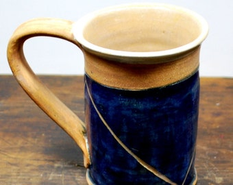 Rustic Cobalt Blue and Naked Clay Mug with Incised Design Wheel Thrown Pottery Free Shipping