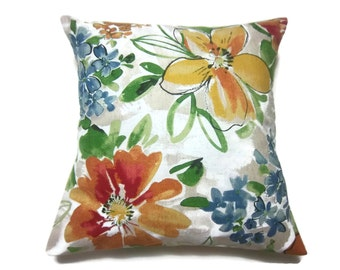 Decorative Pillow Cover Modern Floral Design Orange Red Yellow Green Blue White Same Fabric Front/Back TossThrow Accent 18x18 inch x