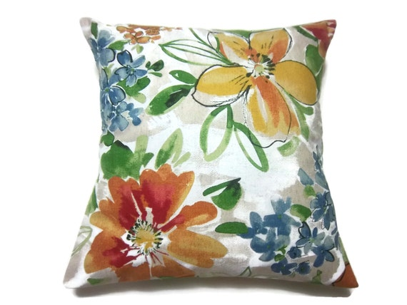 Decorative Pillow Cover Modern Floral Design Orange Red Yellow