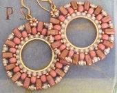 Beaded Earrings Cream Rose and Seed Bead Earrings - Big Bold Handmade Beadwork Statement Jewelry