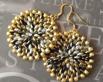 Seed Bead Earrings Large Gold Silver and Crystal Disc Earrings - Beadwork Jewelry - Statement Jewelry