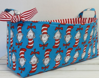 Long Diaper Caddy - Fabric Organizer Storage Bin Basket - Cat in the Hat -  Made with Licensed Dr. Seuss Fabric - Heads on Blue