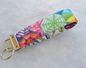 Key Fob wristlet - Beach Umbrellas and Flip Flops