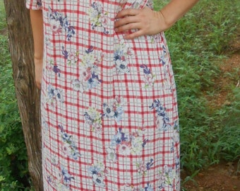 Ladies knit nightgown modest cotton red white plaid summer X-long Tall XL 18 20