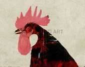 Rooster printable download poster wild nature childrens colourful print download pop art bird chicken chook