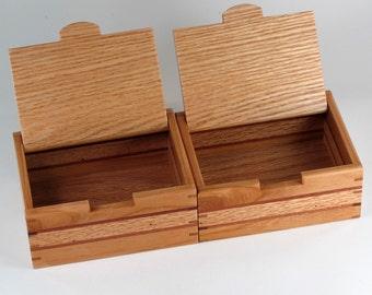 Keepsake Boxes, Matched Pair, Jewelry Box and Mens Valet, Oak Wood, Cherry Wood, Mahogany Wood