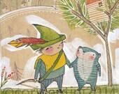 good friends by Cori Dantini, The Adventurers by Blend fabrics, watercolor - nursery decor - limited edition - 8 x 10 print by cori dantini