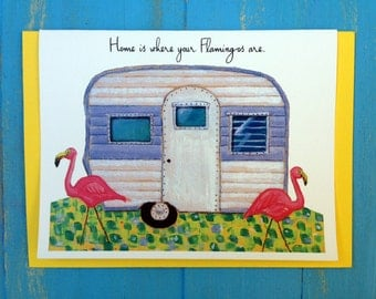 Home is where your flamingos are greeting card