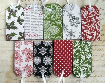 9 wood Christmas gift / luggage tag ornaments modern pattern decoupage red, white, green & black