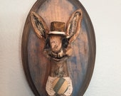 Bunny Button Faux Taxidermy Mounted Head
