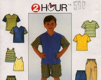 Uncut Boys PANTS Shorts KNIT SHIRT Tank Top Pattern Simplicity #7990 Size 5-8 Sewing Pullover Pull-on