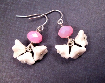 Flower Earrings, Ruffle Blossoms, Pink and White, Silver Dangle Earrings, FREE Shipping U.S.
