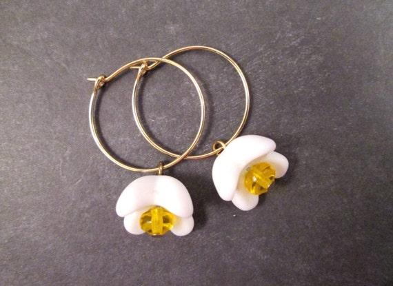 Flower Earrings, Daisy Mae, Vintage Glass and Gold Hoop Earrings, FREE Shipping U.S.