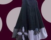 SALE Floral Sun Dress S Small Black Gray Lavender Earthy