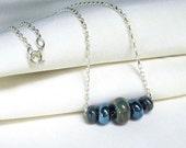 Metallic Blues Slider Necklace, Sterling Silver, Artisan Glass Lampwork Beads, Modern Trendy Minimalist Jewelry, Delicate Necklace