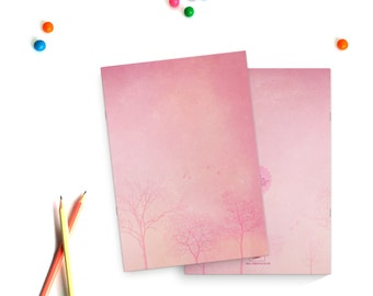 Pink trees - A5 illustrated notebook