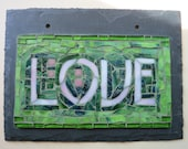 Love Mosaic Sign in Vibrant Green  (Ready to Ship)