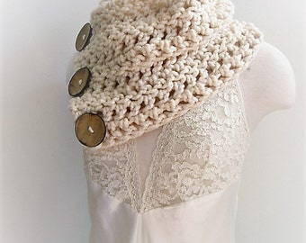 Ready to Ship Side Button Cowl, Boston Harbor Scarf, Original, Three Button Cowl Scarf, Chunky Cowl Scarf, Cowl 3 Buttons Cream Taupe Grey