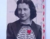 "transparent-original mixed media art postcard collage,hand stitched, 5-1/4"" x 3-1/2"""