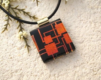 Petite Red & Black Necklace, Dichroic Jewelry, Contemporary, Fused Glass Jewelry, Dichroic Pendant, Gold./Black Necklace Included 082315p105