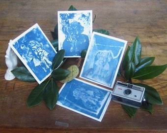 Eudora Welty - Archival print of cyanotype from an original portrait drawing - Complete set of 4