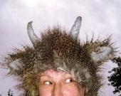 Monster Horn Hat Feather Brown Black Gray Lush Faux Furry Burning Imp Satyr Adult Costume Playa Geek Fetish Hat Birthday Fur Hat