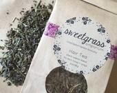 Black Walnut Hair Tea - organic herbal hair rinse for dark hair and grey coverage
