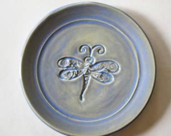 Tea Bag Holder - Spoon Rest - Ring Dish - Dragonfly imprint - Frosted, translucent blue glaze