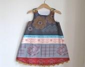 Crossing Paths Girls Winter Holiday Dress - Baby Girls Children's Dress sizes Newborn to  Girls 6 -  Autumn Stripes with Mustard Trim