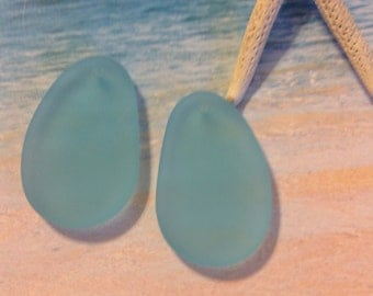 2 PC  freeform mm hypnotic sea glass beads -beach glass beads-Seaglass drilled bead-Aqua blue frosted bead-cultured glass -sea glass jewelry