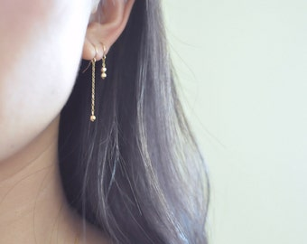 Tiny gold beads earrings - delicate gold earrings - short dangle earrings - faceted beads earrings - dainty gold earrings - gold filled