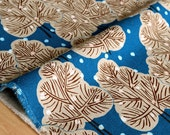 Japanese Fabric - snow trees canvas - blue - 50cm