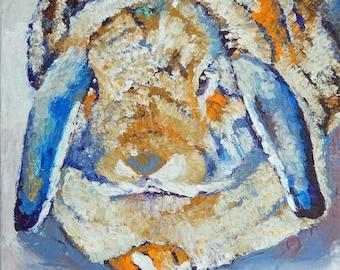 "SALE Original Lop Rabbit Bunny Oil Painting 10""x10"" NOT A PRINT"