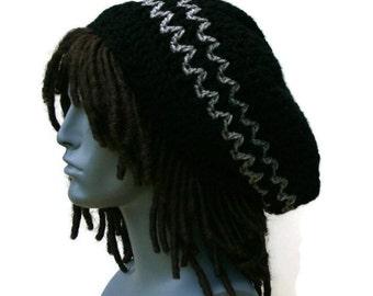 Black gray slouchy beanie, small dread tam hat, hippie slouchy hat, slouch beanie, smaller dreadlocks hat, black vegan man hat, woman beanie