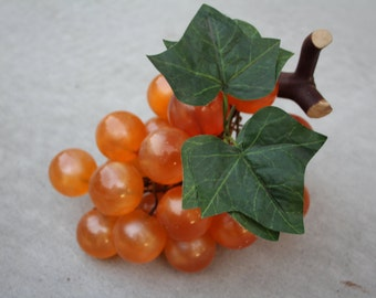 VINTAGE orange colored grapes with plastic leaves with wood accent piece