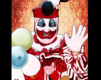 "Print 8x10"" - John Wayne Gacy - Clown Pogo Serial Killers Dark Art Pop Art Horror Balloons True Crime Blood Charles Manson Death Murder Red"