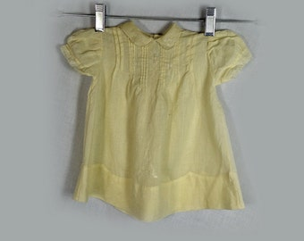 Vintage Baby Dress, 1950s, Yellow, Cotton, Embroidered, Tucked, Short Puff Sleeves, Size 6 Months