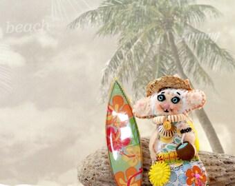 Silly Google-Eye Surfer Dude Quilty Critter - OOAk, Folk Art, Novelty, Ornament