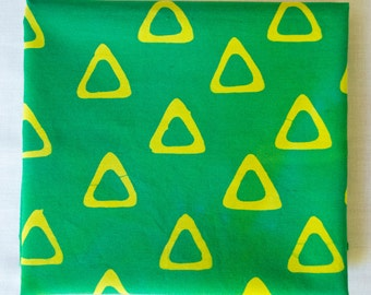 Triangle Tribe Hand Dyed and Patterned Fabric in Yellow and Green