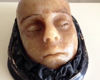 Holiday SALE - Wax Head on Antique Dome Base - Vintage Medical Oddity Curiosity - Shipping INCLUDED