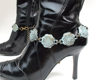 Verdigris Patina Metal Boot Chains Ankle Bracelet Boot Jewelry, EcoFriendly, Handmade from Recaimed Belts, Made in USA, OOAK