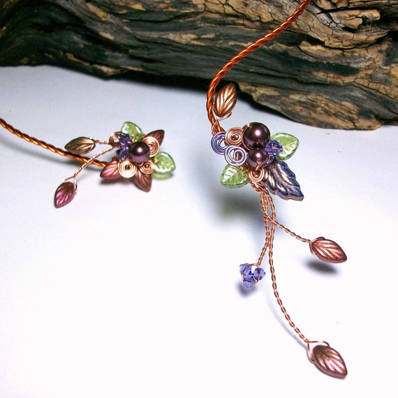 Art Nouveau Fairy Torc Necklace Autumn Cornucopia