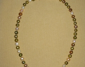 Multi colored fresh water pearl choker necklace