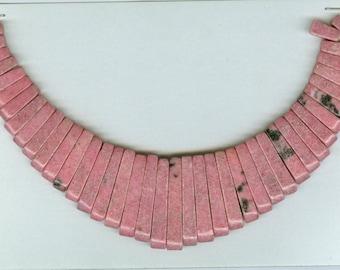 Pink Rhodonite Maxi Cleopatra Collar Graduated Gemstone Fan 41 Piece Stick Bead Set 8125