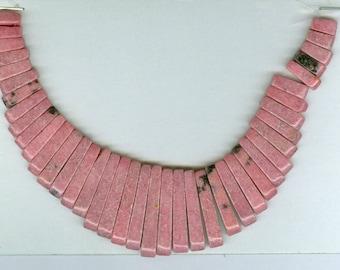 Pink Rhodonite Maxi Cleopatra Collar Fan 41pc Bead Set 8124