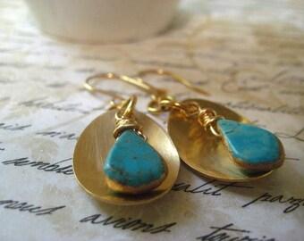 Boho Earrings, Kingman Turquoise, Golden Brass Disc, Designer Bead, Teardrop Shape, Gemstone Drops, Womens Jewelry, Genuine Gemstone